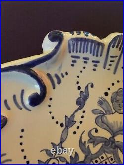 Antique Clam Scallop Shaped Dish Spoon Rest Delft Blue Faience France Lady Bust