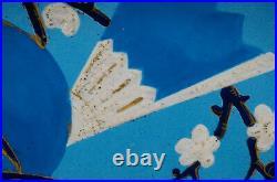 Antique Creil Montereau HP Cobalt Turquoise & Gold Bird & Floral Faience Platter