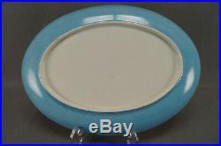 Antique Creil Montereu HP Cobalt Turquoise & Gold Bird & Floral Faience Platter
