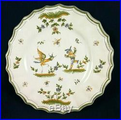 Antique De Moustiers French Faience Plate Grotesque Man Mythical Bird Flowers