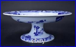 Antique Depose Creil Montereau Faience Japon Japanese Pedestal Bowl Compote 9.5