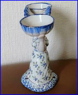 Antique Desvres French Faience Double Open Salt Bretonne Woman Fourmainetraux