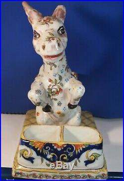 Antique Desvres French Faience Figural Donkey Salt Gabriel Fourmaintrau c. 1900