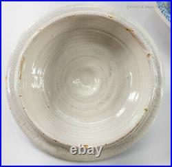 Antique Dutch French Delft Pottery Covered Bowl BLue and White Faience Signed