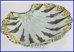 Antique English or French Polychrome Delft Faience Shell Shaped Barbers Bowl
