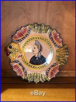 Antique Faience French Henriot Corbeille Quimper 1930-Woman/Bretonne fish plate