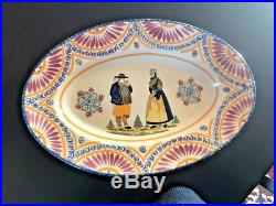 Antique Faience French Henriot Corbeille Quimper 1930 -large oval platter 16 1/4