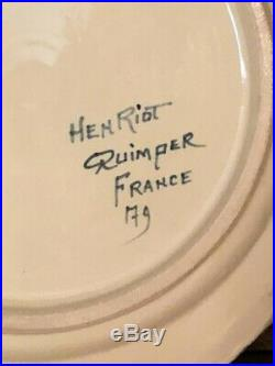 Antique Faience French Henriot Corbeille Quimper 1930 pair octagonal 9 plates