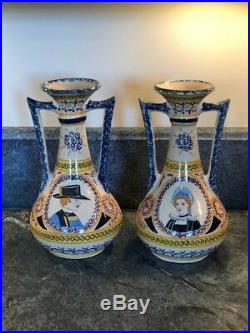 Antique Faience French Henriot Corbeille Quimper 1930 pair of tall vases rare