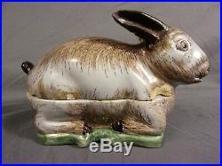 Antique Faience French Majolica Pate Figural Tureen Terrine Rabbit 6 Jones era