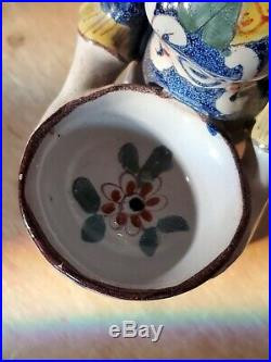Antique Faience French Pottery Salt Cellar Lady Double Sided