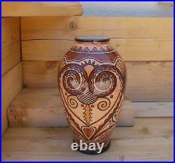 Antique Faience Henriot To Quimper Vase Signed Jean Caer