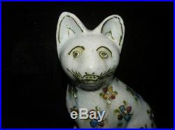 Antique Faience Pottery Cat Figurine French