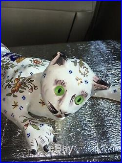 Antique France Faience Cat Wall Pocket Statue Glass Eyes