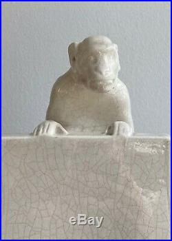 Antique French Art Deco 1920 Craquele Faience Bookends With Monkeys
