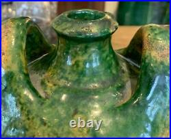 Antique French Art Pottery Earthenware Glaze Confit Vase Faience Pot Terracotta