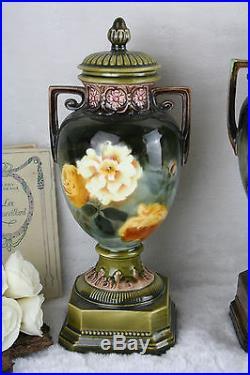 Antique French Art nouveau faience Vases set 1900 floral decor mantel garniture
