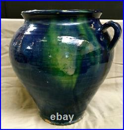 Antique French Confit Pottery Redware Faience Terracotta Marriage Pitcher Pot