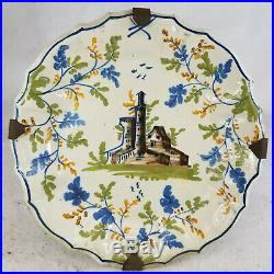Antique French Continental Delft Faience Pottery PLate Castle Majolica Maiolica