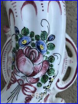Antique French Desvres Rouen Majolica Quimper Large Ram's Wall Pocket Faience