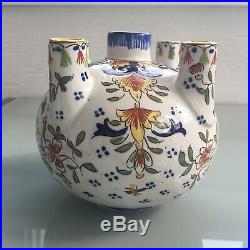 Antique French Faience 5 Finger Vase Hand Painted Rennes Brittany Maker's Mark