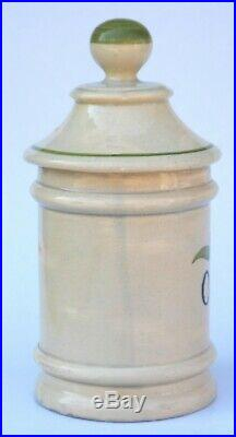 Antique French Faience Apothecary Opium Lidded Jar Albarello da Farmacia
