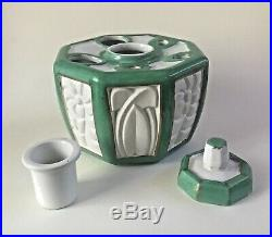 Antique French Faience Art Nouveau Inkwell Signed Aladin France Porcelain