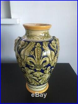 Antique French Faience Art Pottery Ceramic Vase With Fleur De Lis