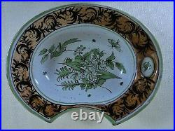Antique French Faience Barber Bowl Tin Glazed With Birds Insects Flowers 19th C