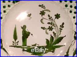 Antique French Faience Chinoiserie Plate c. 1800's Chinaman Holding Pipe a