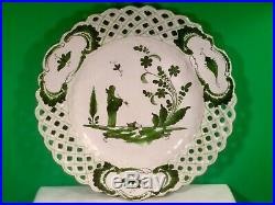 Antique French Faience Chinoiserie Plate c. 1800's Chinaman Holding Pipe b