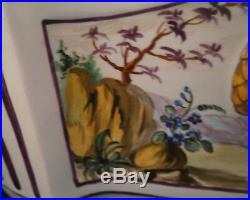 Antique French Faience Chinoiserie Scene Scenic Bough Bulb Flower Pot France