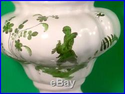 Antique French Faience Chinoiserie Urn c. 1800's Chinaman Holding Dove, Pipe a