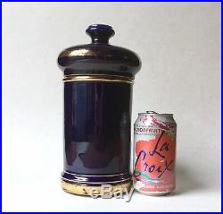 Antique French Faience Cobalt Blue Apothecary Jar, Keller & Guerin, Late 19th C