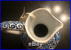 Antique French Faience Delft Blue And White pitcher 19th century Beautiful