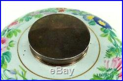 Antique French Faience Desktop Inkwell Ink Well w. Sterling Silver Lid