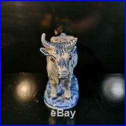 Antique French Faience Desvres Fourmaintraux Blue & White Cow Glass Eyes Bull
