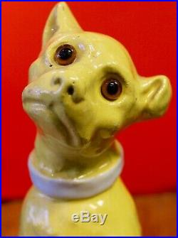 Antique French Faience Dog Figurine Mosanic Des Vres Galle Perfect