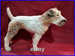Antique French Faience Dog Statue Life Size Glass Eyes 1800's 19thC Authentic