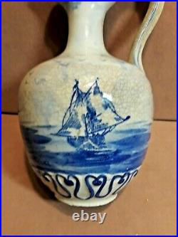 Antique French Faience French Delft Porcelain Pitcher