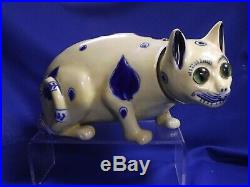 Antique French Faience Galle' Large 10 Long Whimsical Cat Nodder Chip Re-glued