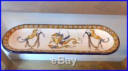 Antique French Faience Gien Pen Tray, Beautiful Grotesque Renaissance Beautiful