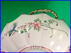 Antique French Faience Hand Painted Floral Handled Bowl c. 1800's'a