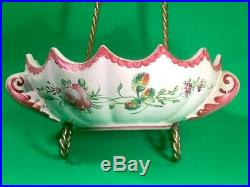 Antique French Faience Hand Painted Floral Handled Bowl c. 1800's'b