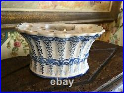 Antique French Faience Hand Painted Flower Bulb Tulipiere Pottery Pot Blue & Wht