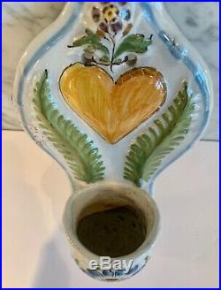 Antique French Faience Heart Handpainted Benetier Holy Water Wall Font 19th C