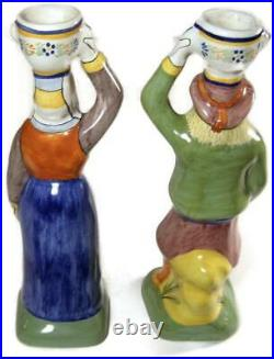 Antique French Faience Henriot Quimper Figural Man & Woman Candlestick Pair