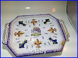 Antique French Faience Heraldic Platter Amboise