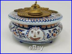 Antique French Faience Inkwell Stand Pottery with Brass/Bronze Fittings Inserts