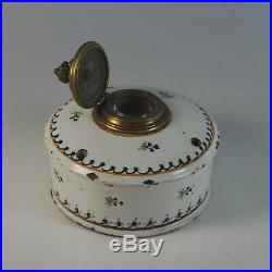 Antique French Faience Inkwell with Lid and Insert